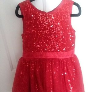 Red sparkly sequin dress